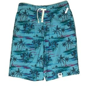 Arizona Jeans Tropical Pull On Shorts Palm Trees